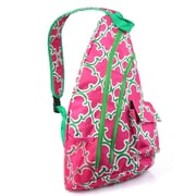 Zodaca Padded Cross Body Bag Shoulder Travel Camping Hiking Sling Backpack Zipper Bag - Pink Quatrefoil