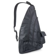 Zodaca Padded Cross Body Bag Shoulder Travel Camping Hiking Sling Backpack Zipper Bag - Black