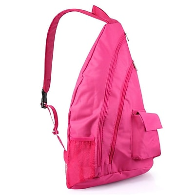 Zodaca Padded Cross Body Bag Shoulder Travel Camping Hiking Sling Backpack Zipper Bag - Pink