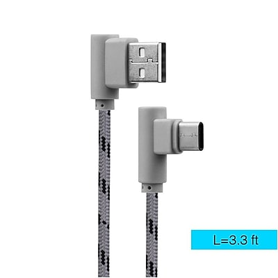 Insten 3.3FT USB 2.0 Type A to Type C Right Angle Side Plug Braided Data Charging USB Power Cable - Gray