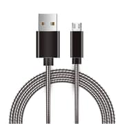 Insten Innovative Metal Snake Reliable Fast Data Charging Power Micro USB Cable with Aluminum Connectors - Gray