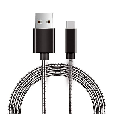 Insten USB 2.0 Type A to Type C Metal Snake USB Power Charging Cable wih Aluminum Connectors - Gray