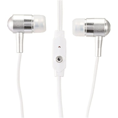Insten 3.5mm Lightweight Bullet Integrated Microphone Handsfree Stereo Headphone Headset Earbuds - White