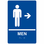 "ComplianceSigns ADA Mens / Boys Restroom Sign, 9"" x 6"", Acrylic Tactile with Braille, White on Blue, (RRE-14803-WHTonBLU-AC-9x6)"