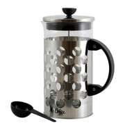 Mr Coffee 107317.01 Polka Dot Brew 32 oz. Silver Glass Coffee Press with Scoop