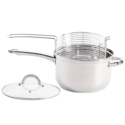 Oster Sangerfield 4.8-Quart Deep Fryer Sauce Pan With Lid and Frying Basket Stainless Steel (935100933M)