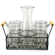General Store Cottage Chic 5-Piece Carafe Set with Wire Caddy (116301.06)
