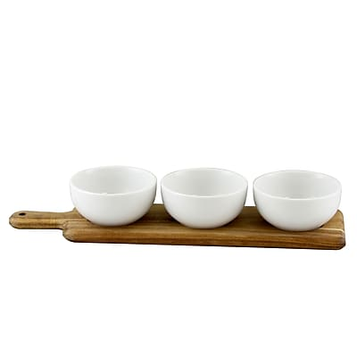 Gibson Gracious Dining 3-Piece Tidbit Bowl Set on Wood Paddle White (116346.04)
