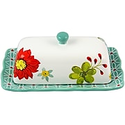 Laurie Gates Daisie Collection Rectangular Butter Dish With Lid Hand Painted (116988.02)
