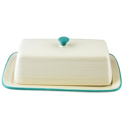 General Store Hollydale Stoneware Butter Dish with Lid Teal and Linen (113229.02)