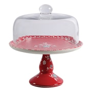 "General Store Cherry Diner 10.25"" Cake Stand with Glass Dome Red (116801.02)"