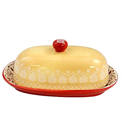 General Store Hollydale Butter Dish with Lid Hand Painted (113130.02)