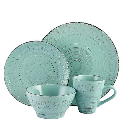 Elama Malibu Waves 16-Piece Stoneware Dinnerware Set Turquoise ELM-MALIBU-WAVES