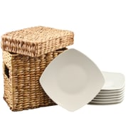 Gibson Zen Buffetware 8.25 in.  Ceramic Dessert  Plates Set White 94882.09