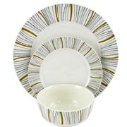 Gibson Home Classic Burst  12-Piece Ceramic Dinnerware Set White Decorated 116929.12