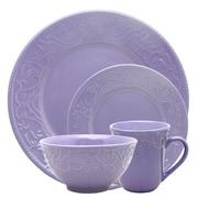 Elama Lilac Fields 16-Piece  Stoneware Dinnerware Set Purple ELM-LILAC-FIELDS