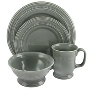 Gibson Barberware 16-Piece Stoneware Dinnerware Set Grey 92428.16
