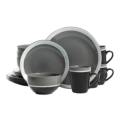 GIbson Color Eclipse 16-Piece Stoneware Dinnerware Set Grey 95851.16