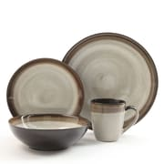 Gibson Elite Couture Bands  16-Piece Ceramic Dinnerware Set Cream and Brown 91227.16