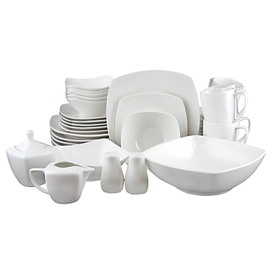 Gibson Zen Buffetware 39-Piece Ceramic Dinnerware Set White 110999.39