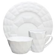 Elama Retro Chic 16-Piece Stoneware Dinnerware Set White  ELM-RETROCHIC-WHITE
