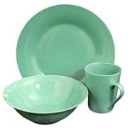 Gibson Home Carlton 12-Piece Ceramic Dinnerware Set Teal 116911.12