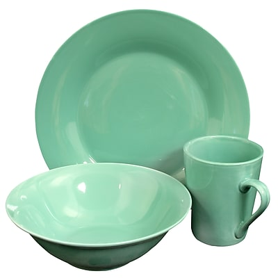 Gibson Home Carlton 12-Piece Ceramic Dinnerware Set Teal 116911.12