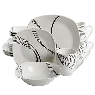 Gibson Curvation 16-Piece Ceramic Dinnerware Set White 94704.16
