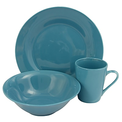 Gibson Home Carlton 12-Piece Ceramic Dinnerware Set Blue 116912.12
