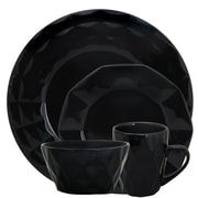 Elama Retro Chic 16-Piece Stoneware Dinnerware Set Black  ELM-RETROCHIC-BLACK