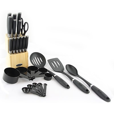 Oster Lindbergh Total Kitchen 27-Piece Combo Utensil and Knife Set Black (64886.27)