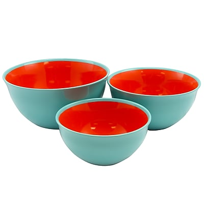 Gibson General Store Cottage Chic 3-Piece Bowl Set Blue and Red (116448.03)