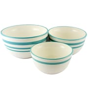 General Store Hollydale 3-Piece Nesting Bowl Set Linen with Teal Bands (116855.03)