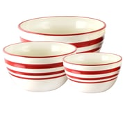 General Store Hollydale 3-Piece Nesting Bowl Set Linen with Red Bands (116854.03)