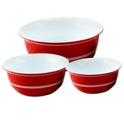 Just Dine Bistro Edge 3-Piece Nesting Bowl Set Red with White Bands (111105.03)