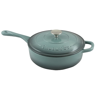 Crock-Pot Artisan Cast Iron 3.5 qt. Deep Saute Pan with Self-Basting Lid, Slate Grey (112012.02)