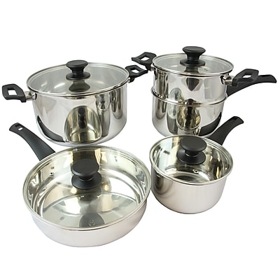 Oster Sabato Stainless Steel 9-Piece Cookware Set, Silver (74056.09)