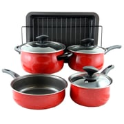 Sunbeam Kelfield Carbon Steel 9-Piece Cookware Set, Red (109458.09)