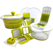 MegaChef 10-in-1 Multi-Use Salad Spinning Slicer, Dicer and Chopper with Interchangeable Blades