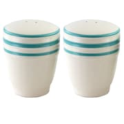 General Store Hollydale Salt and Pepper Shakers Set Linen and Teal Bands (113230.02)