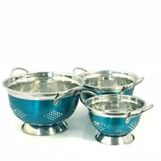 Oster Metaline 3-Piece Stainless Steel Asian Colander Metallic Turquoise (109497.03)