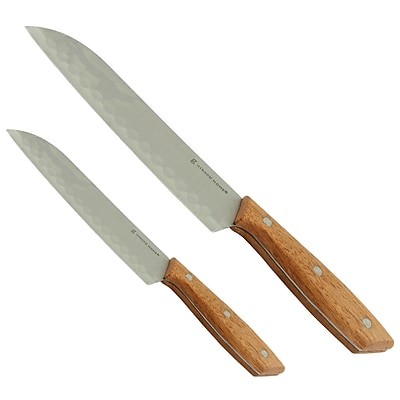 Gibson Home 107194.02 Seward Stainless Steel Santoku Cutlery Set with Wooden Handle