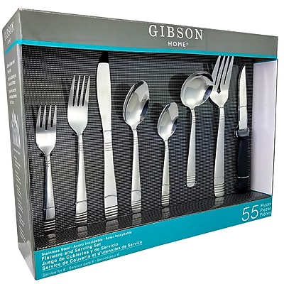 Gibson Home 91459.55 Palmore Plus Stainless Steel 55-Piece Flatware Set