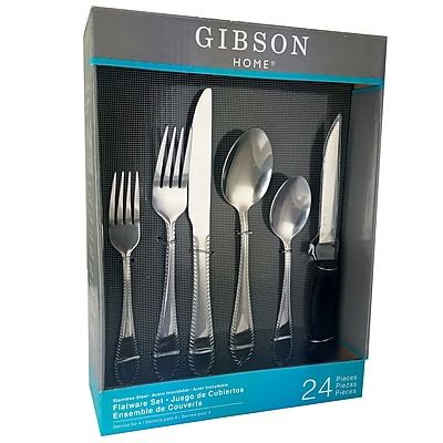Gibson Home 109533.24 Wilmington Stainless Steel 24-Piece Flatware Set