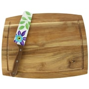 Laurie Gates 80118.02 Daisie Collection Stainless Steel 2-Piece Nakiri Knife and Cutting Board Set