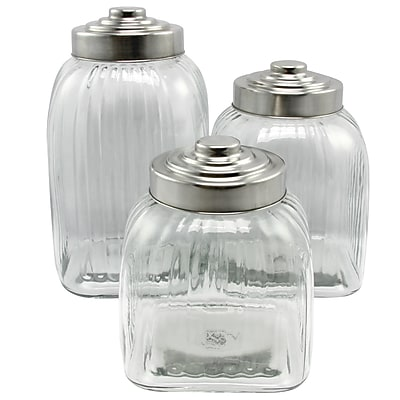 General Store Cottage Chic 3-Piece Canister Set Clear Glass (108179.03)