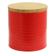 General Store Hollydale Embossed Canister with Bamboo Lid Red (113210.02)