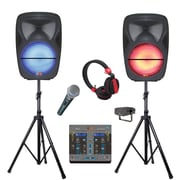 Quantum Fx SM-215 Dual Portable Party Bluetooth Speakers with Mixer  Black