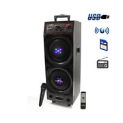 "beFree Sound BFS-8005 10"" Double Subwoofer Rechargeable Bluetooth Portable Speaker Black"