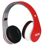 QFX H-254 RED Over Ear Folding Bluetooth Stereo Headphones With Microphone Red